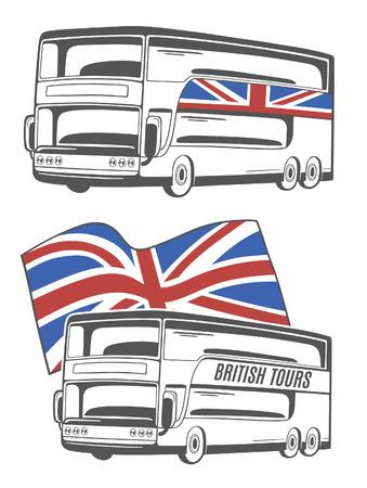 Ilustración vectorial de bus turístico con Union Jack. Foto de archivo - 41929515