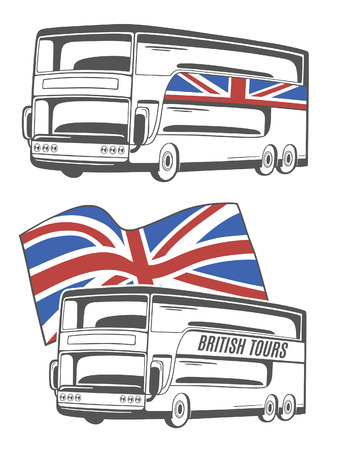 motor coach: Vector illustration of tourist bus with Union Jack.