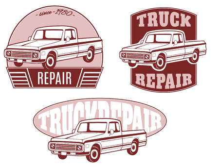 Set of vector logos with pickup truck. Illustration