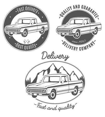 Conjunto de logotipos de vector con camioneta. Foto de archivo - 83446224