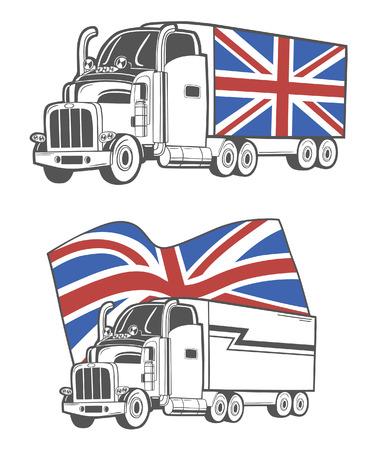autotruck: Vector illustration of heavy truck with Union Jack. Illustration