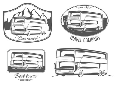 motor coach: Set of vector logos with tourist bus.
