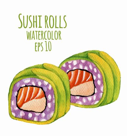 Ilustración vectorial de estilo de la acuarela de sushi. Foto de archivo - 41929518