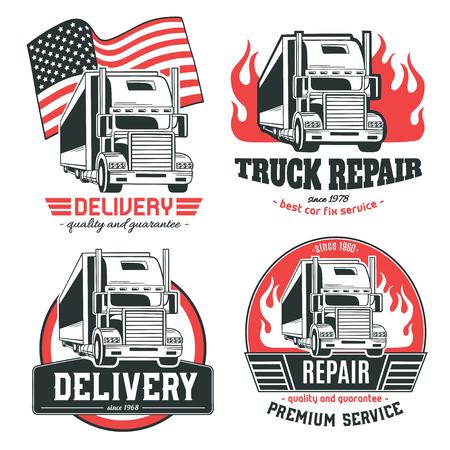 Camión grande. Conjunto de logotipos vectoriales. Foto de archivo - 83432788