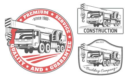 Op een vrachtwagen gemonteerde kraan. Set van vector logo's.