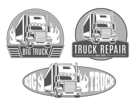 Grote truck. Verzameling van vector logo's.