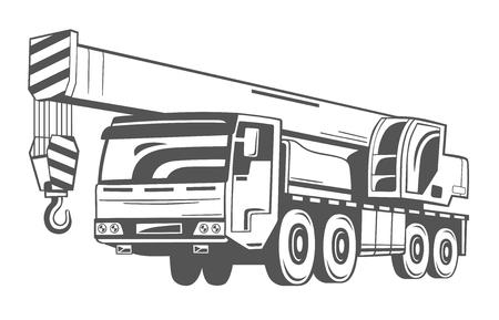 Op een vrachtwagen gemonteerde kraan. Vector illustratie.