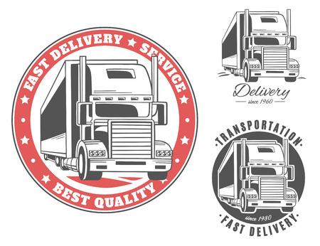 Camión grande. Conjunto de logotipos vectoriales. Foto de archivo - 83464540