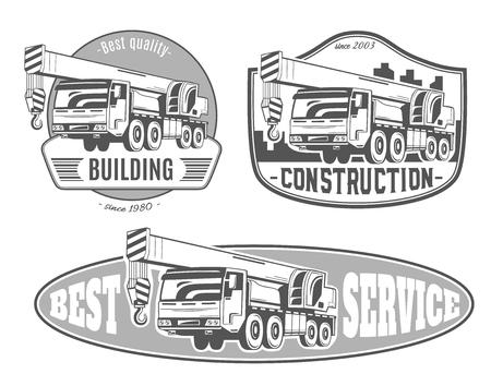 Camión grúa. Conjunto de logotipos vectoriales. Foto de archivo - 83441368
