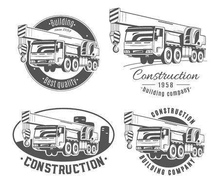 トラック搭載型クレーンです。ベクトルのロゴのセットです。  イラスト・ベクター素材