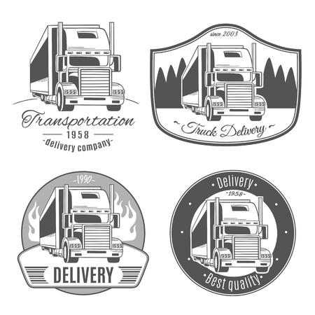 Camión grande. Conjunto de logotipos vectoriales. Foto de archivo - 83441370