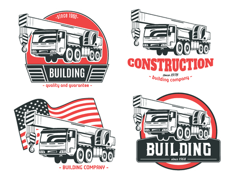 Camión grúa. Conjunto de logotipos vectoriales. Foto de archivo - 83441373