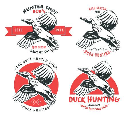 Duck Hunt. Set van vector logo's.