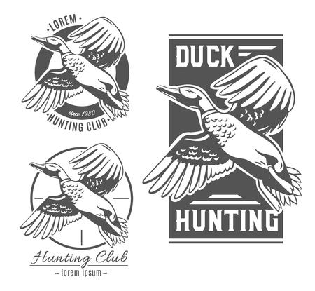 Duck Hunt. Set of vector logos.