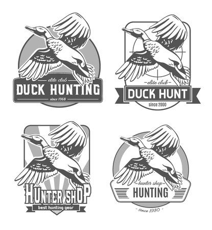 Caza de patos. Conjunto de logotipos vectoriales. Foto de archivo - 84411994