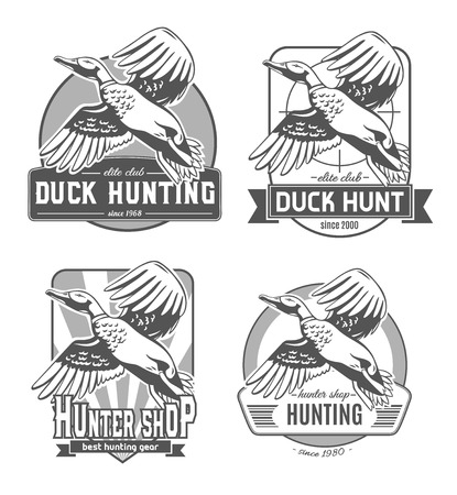 Duck Hunt. Set of vector logos.