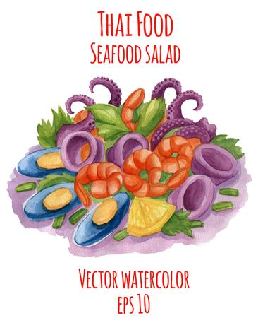 Aquarel-stijl vectorillustratie van Thais-eten gerecht. Pittige zeevruchtensalade.
