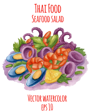 Watercolor-style vector illustration of Thai-food dish. Spicy seafood salad.