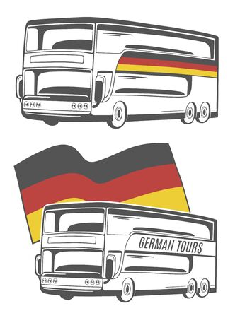 Vectorillustratie van bus met Duitse vlag. Stock Illustratie
