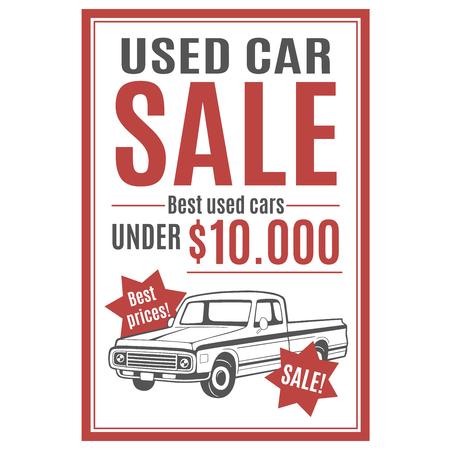 Vector plantilla para el anuncio de venta de coches usados ??con ilustración de recogida. Foto de archivo - 84071837