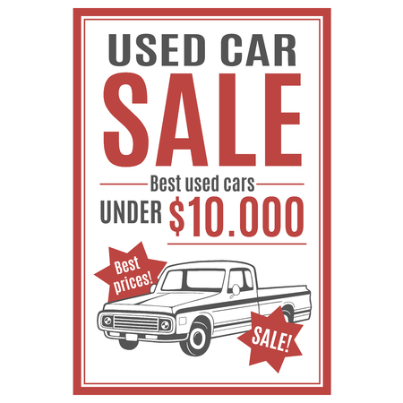 Vectormalplaatje voor de reclame van de gebruikte autoverkoop met bestelwagenillustratie.