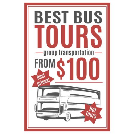 Vectormalplaatje voor busreizenreclame.