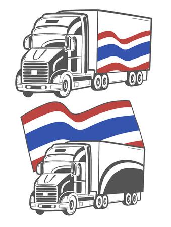 Vectorillustratie van zware vrachtwagen met de vlag van Thailand.