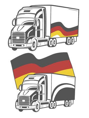 De illustratie van zware vrachtwagen met Duitse vlag.