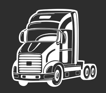 Vectorillustratie van zware vrachtwagen geïsoleerd op zwart.