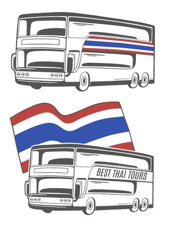 De illustratie van bus met de vlag van Thailand. Stock Illustratie