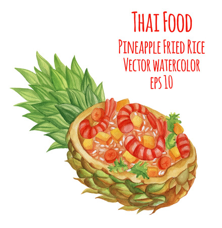 fried shrimp: Watercolor-style  illustration of Thai-food dish. Fried rice in pineapple.