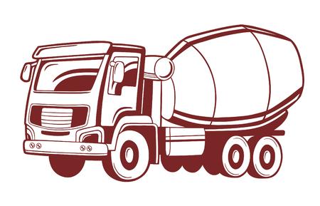 Ilustración de vector de camión hormigonera.