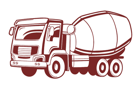 Vector illustration of concrete mixer truck.