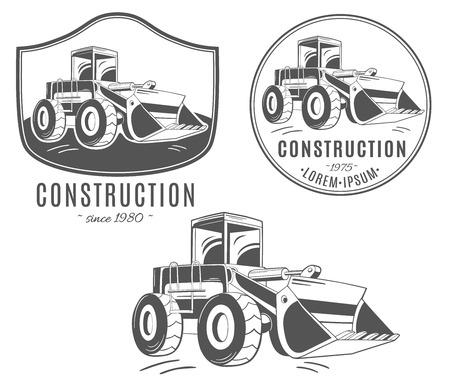 Pictogram van de bulldozer instellen. Stock Illustratie