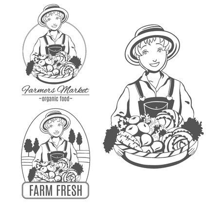 Establecer icono de mujer agricultor. Foto de archivo - 84069682