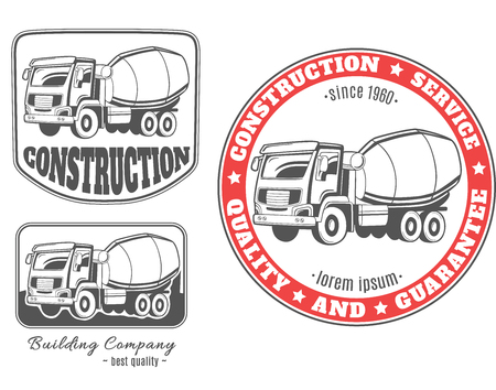heavy: Set of vector logos with concrete mixer truck.
