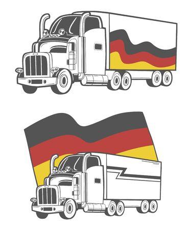 Illustratie van zware vrachtwagen met Duitse vlag. Stock Illustratie