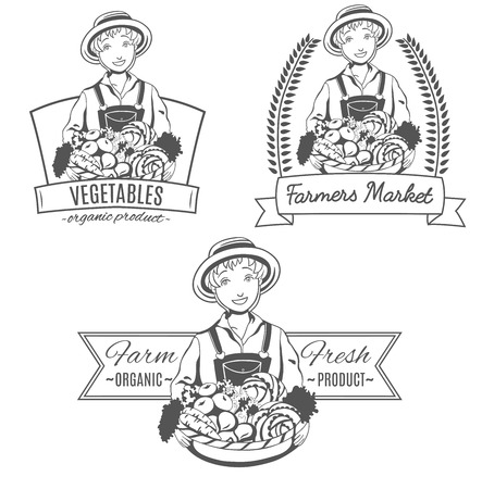 Icono de conjunto con la mujer agricultor. Foto de archivo - 84069698