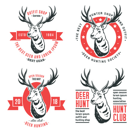 Set of vector logos of deer on white background.