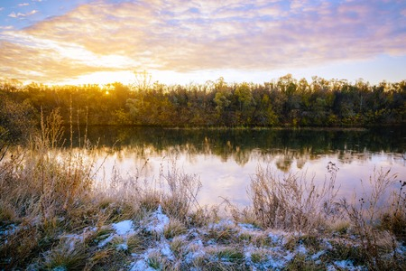 Colorfull autumn landscape with river at sunrise Stock Photo