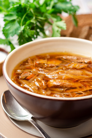 Traditional Russian sauerkraut soup Shchi in bowl on rustic wooden