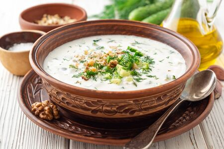 Traditional bulgarian cold summer soup tarator with yogurt, dill, cucumber and walnuts in ceramic bowl on wooden table. Selective focus.