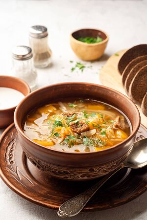 Traditional russian cabbage soup with turnip shchi in ceramic bowl on concrete background. Selective focus.