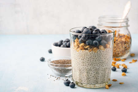 Chia pudding with fresh blueberries and granola in glass on concrete background. Selective focus.