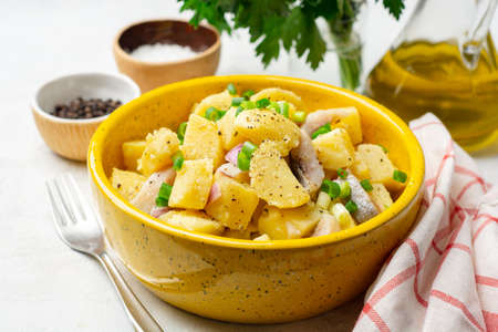 Potato salad with salted herring and onion in ceramic bowl on concrete background. Selective focus.