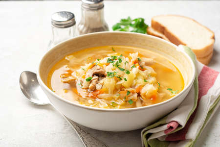 Traditional Russian cabbage soup Shchi on concrete background. Selective focus. Standard-Bild