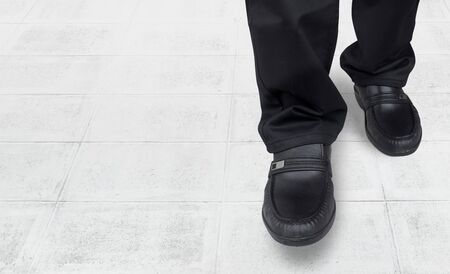 come in: business men feet and walk come in