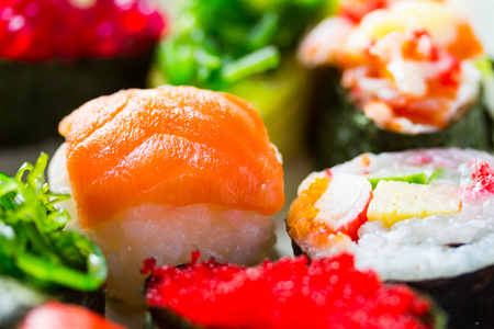 Zushi or Sushi in a various kind of taste a Japanese cuisine food