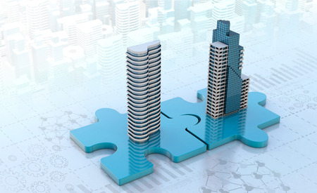 merger and acquisition business concepts, join company on puzzle pieces, 3d render 스톡 콘텐츠