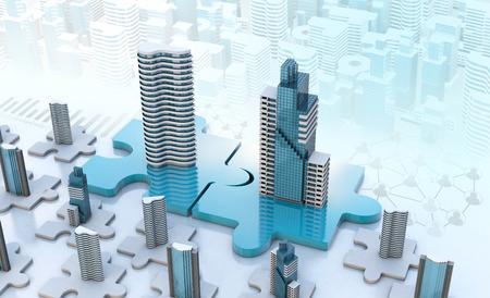 fusie en overname bedrijfsconcepten, deelnemen aan bedrijf op puzzelstukken, 3d render